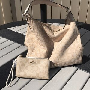 Coach bag and brand new double zipper wristlet